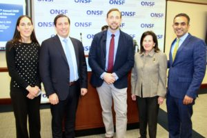 Conference Co-Chairs Dr. Tamar Kessel and Dr. Mark Vitale with Travis Rieder, PhD, Keynote Presenter and Vicki Leeds Tananbaum, ONSF VP and Paul Sethi, MD, ONSF President