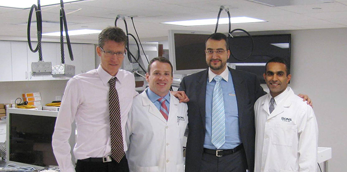 L to R – Dr. Michael Glanzmann from Sweden, Dr. Tim Green, ONS Orthopedic Surgeon, Dr. Bilal Farouk El-Zayat from Germany and ONSF President Dr. Paul Sethi.